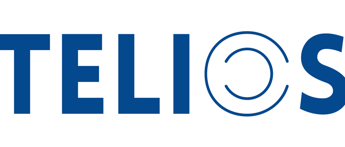 blue letters on a white background spelling the word telios