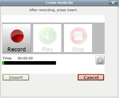 screen shot of audio recorder in moodle