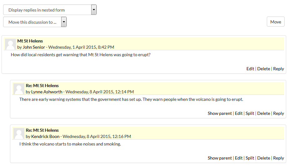 screen shot of forum in moodle